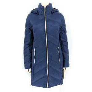 Michael Kors Navy Long Down Nylon Parka Jacket
